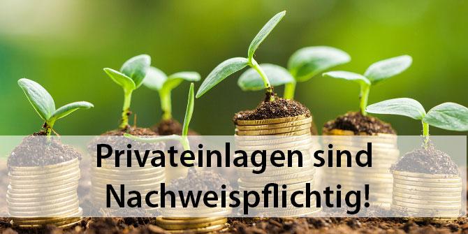 Privateinlagen-Nachweispflicht